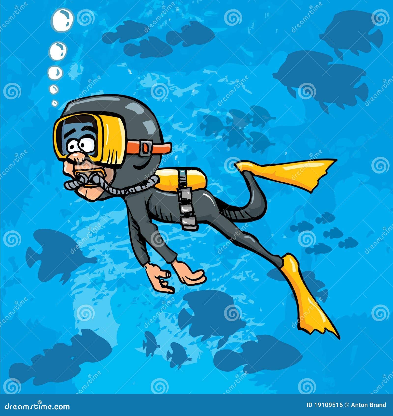Plongeur de dessin anim nageant sous l 39 eau avec des poissons image libre de droits image - Dessin plongeur ...