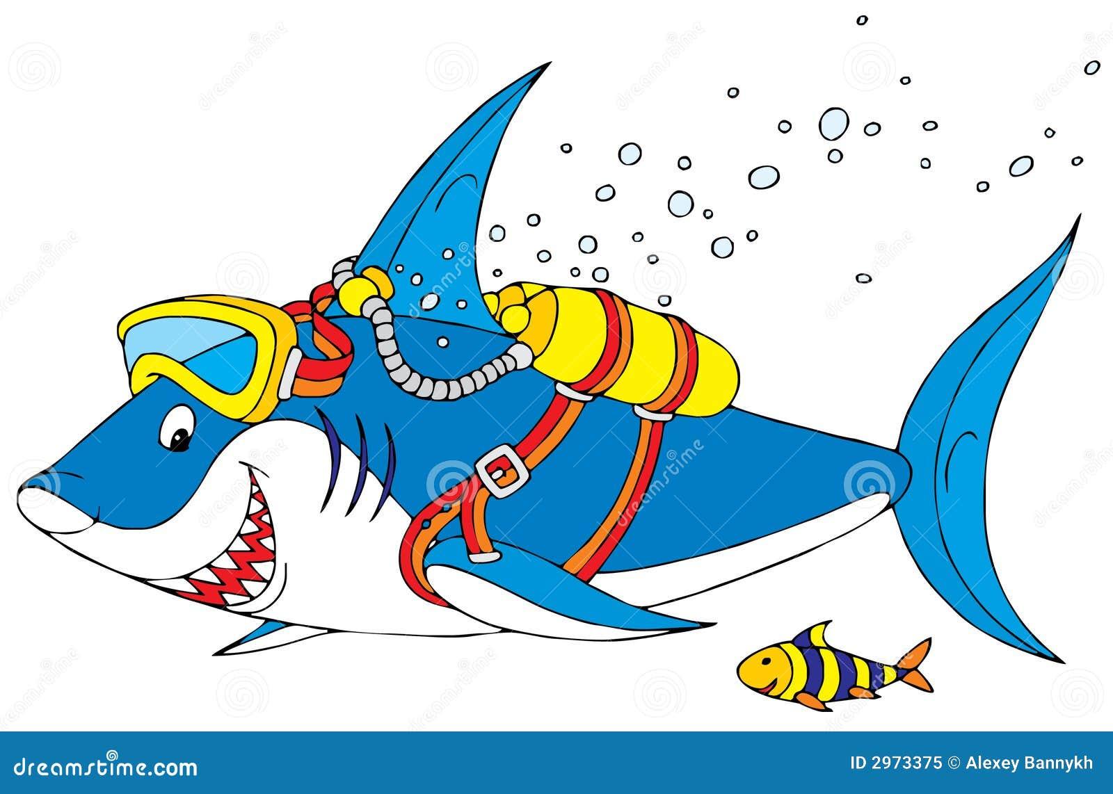 Plongeur de requin photo libre de droits image 2973375 - Dessin plongeur ...