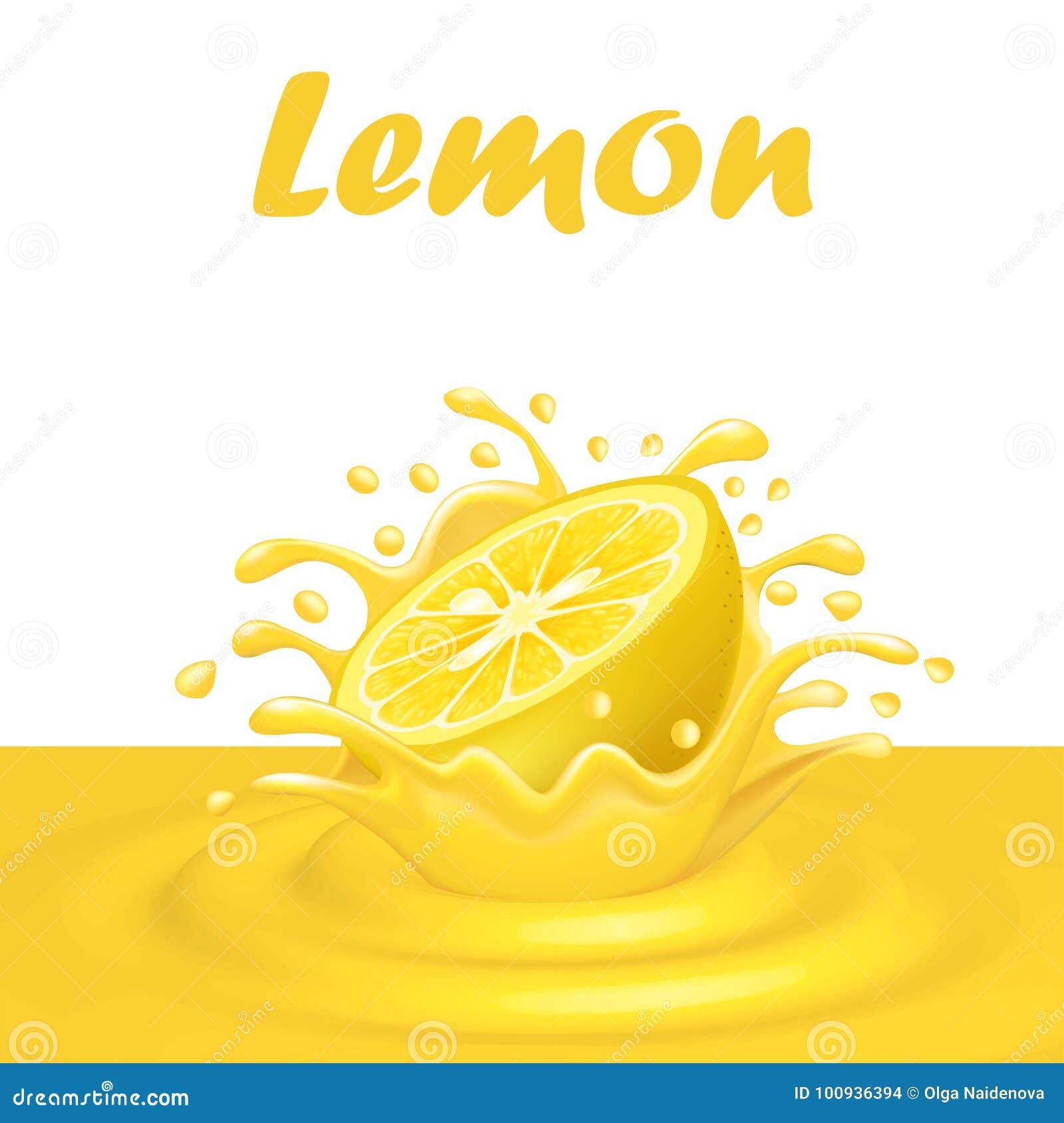 Plons van sap van een dalende citroen en dalingen