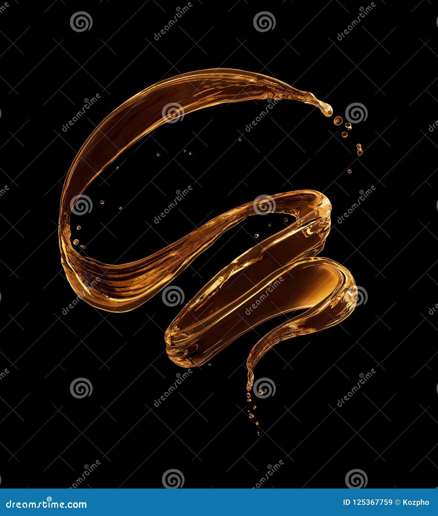 Plonsen van olieachtige vloeistof in een wervelende vorm op een zwarte