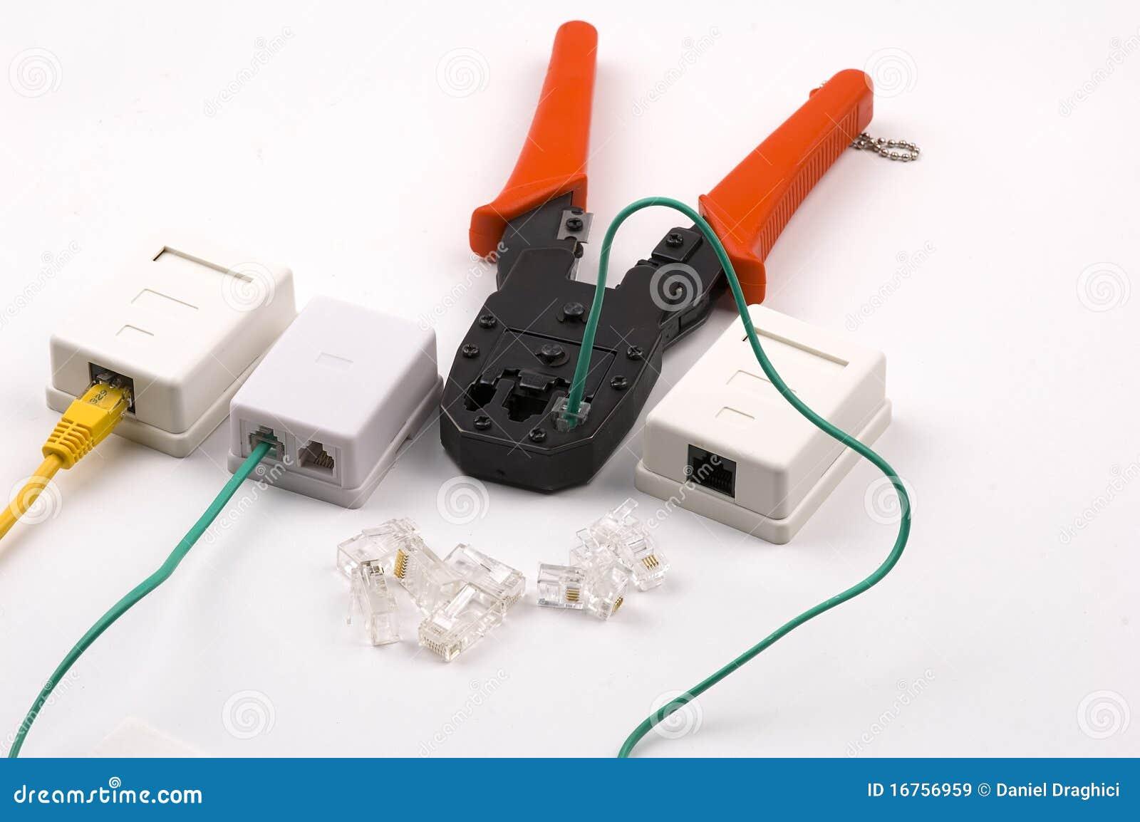 Plooiende hulpmiddel en netwerkcontactdozen op wit