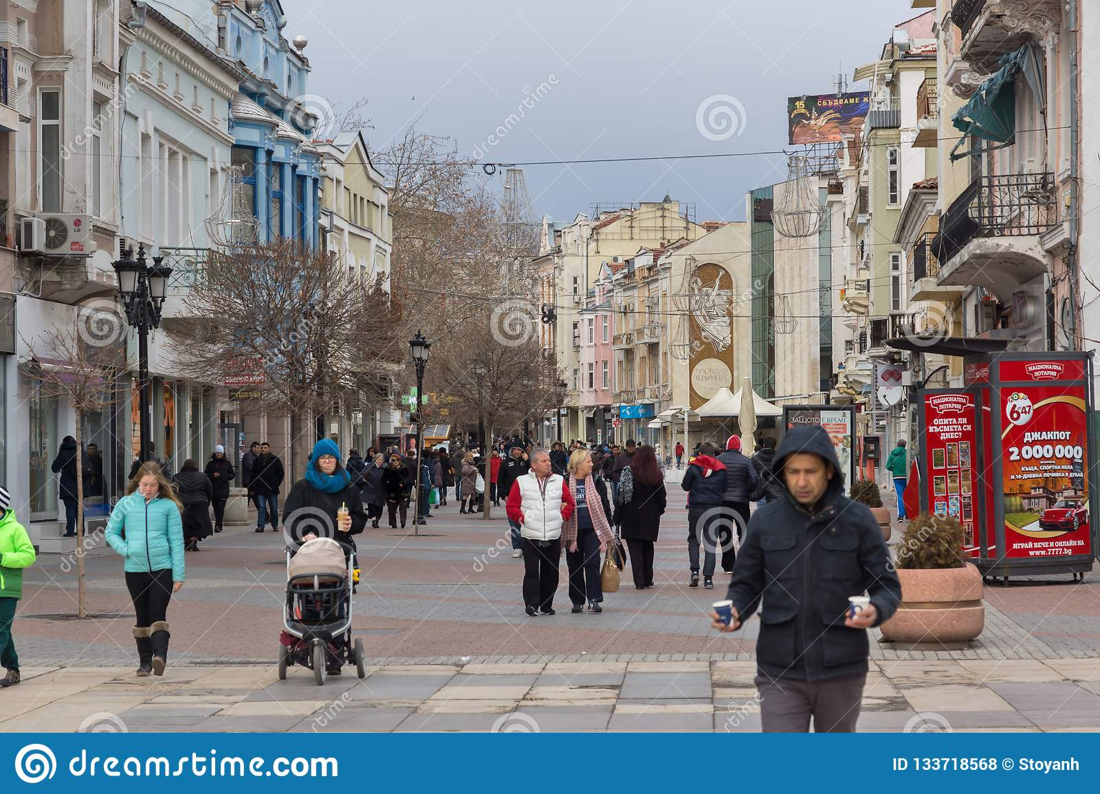 Walking people at the central pedestrian street in city of Plovdiv, Bulgaria