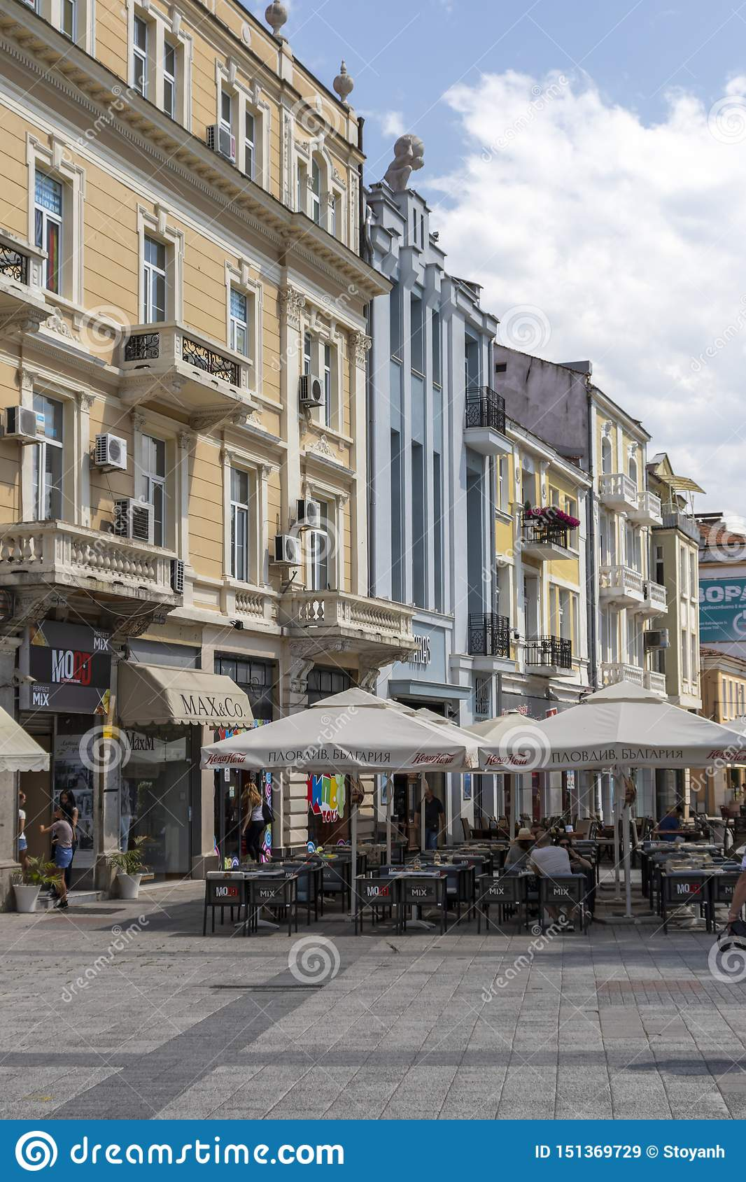 Walking people at Pedestrian streets at the center of city of Plovdiv, Bulgaria