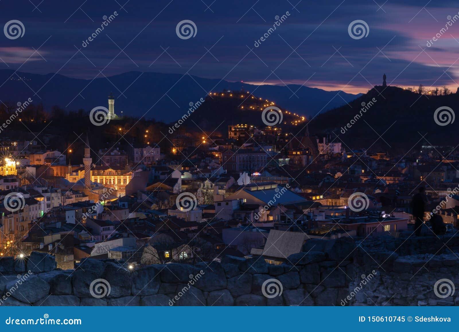 Plovdiv, Bulgaria at sunset - panoramic view