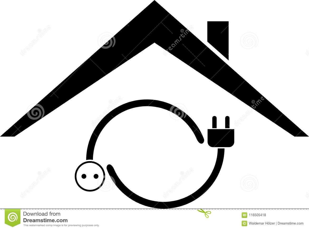 fc0eaf12e5c1 Plug, Outlet And House, Sticker Label, Electrician Logo Stock Vector ...
