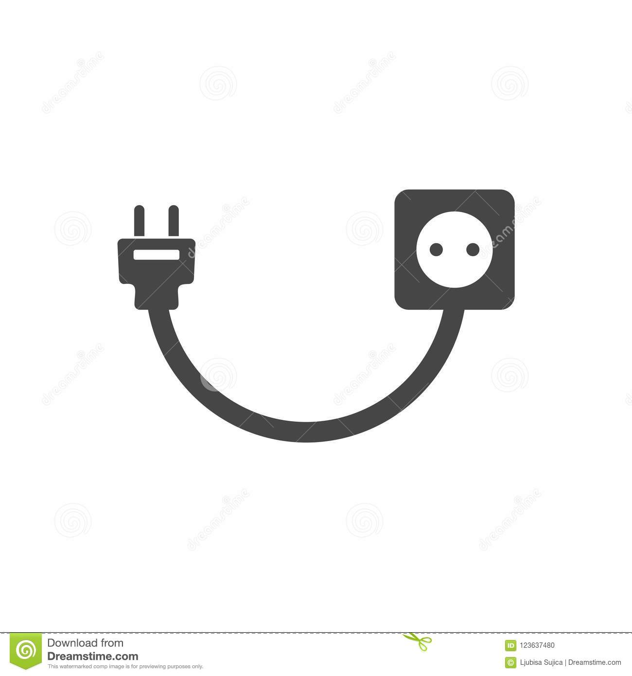 Plug Socket And Cord Wire Electric Stock Vector Wiring New