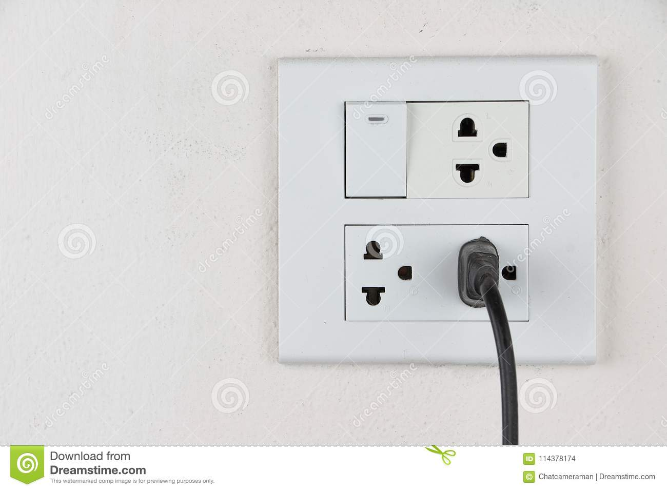 Plug In Socket And Switch Stock Photo Image Of Outlet 114378174 Wiring A To