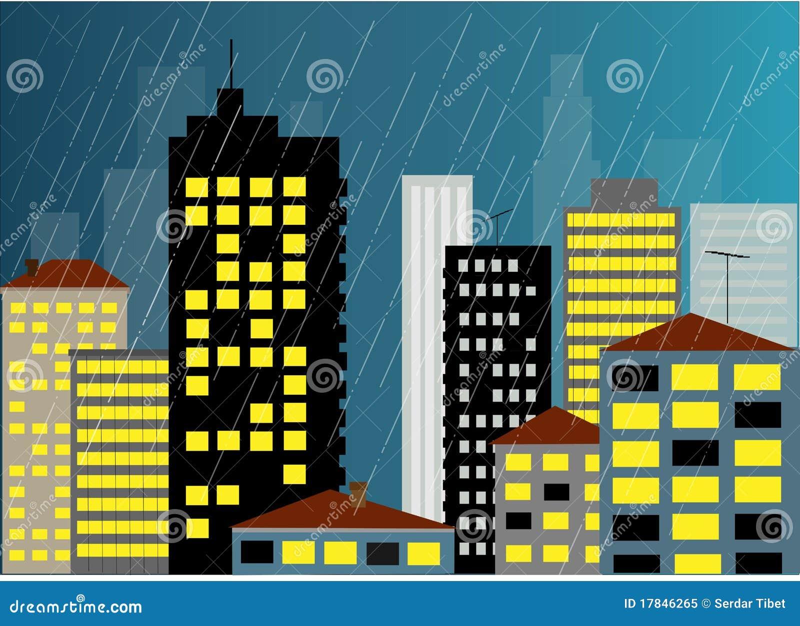 Pluie et la ville