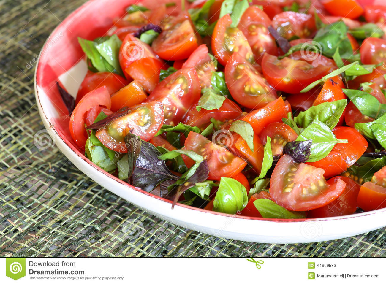 Plum Baby Tomato Salad With Basil Gingham Plate