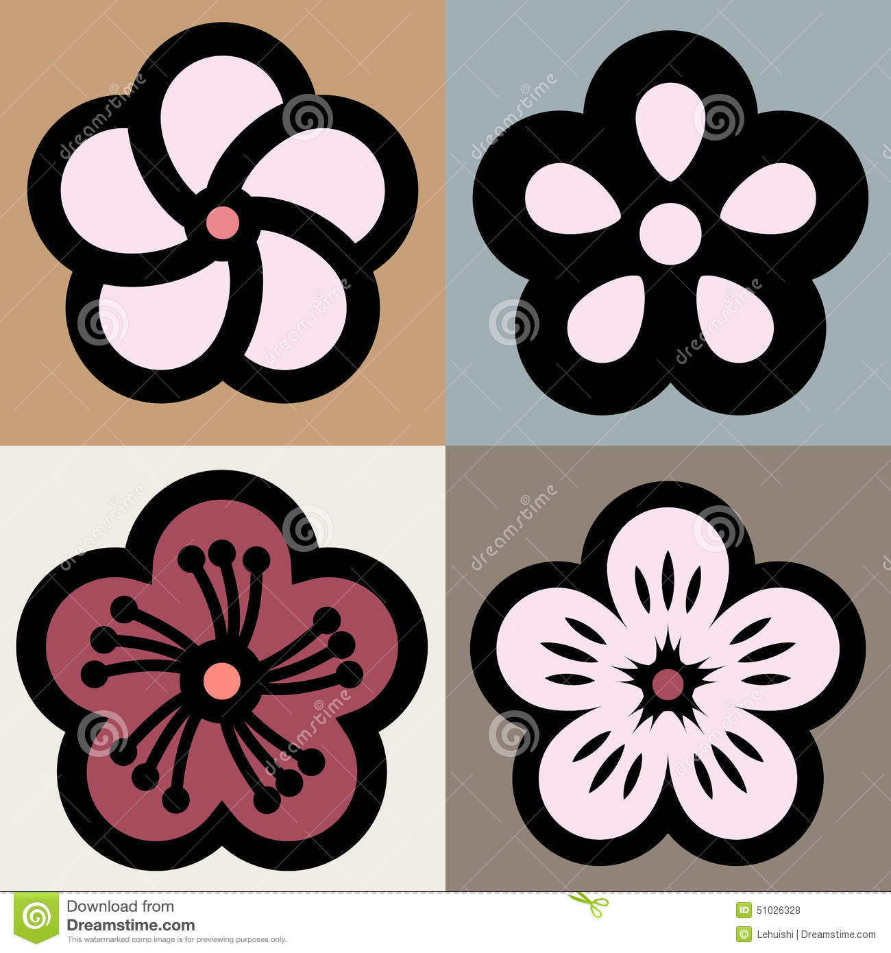 Plum Blossom Flower Pattern Symbol Stock Illustration Image
