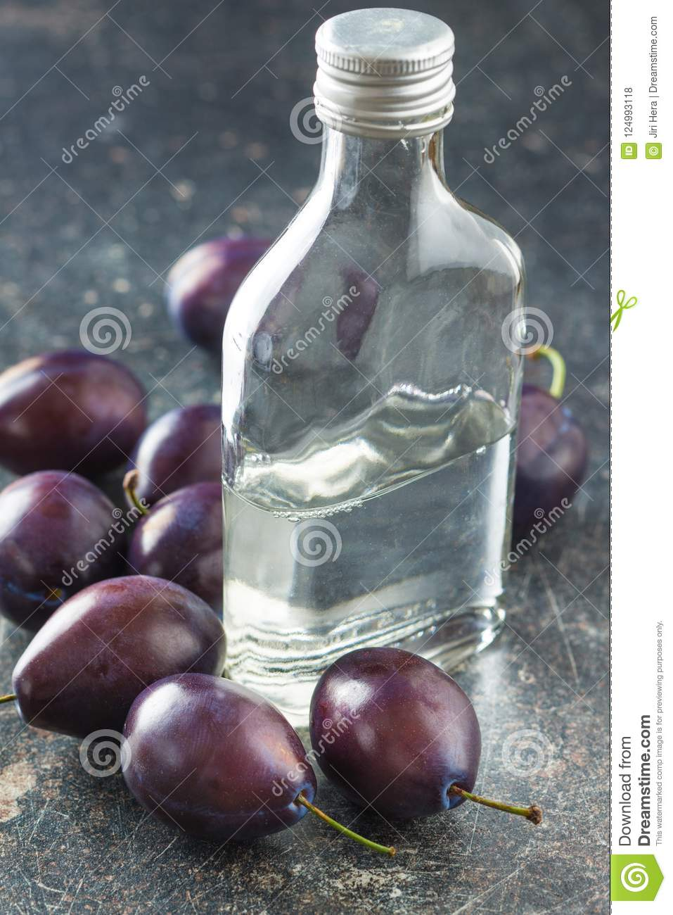 Plum brandy and plums.