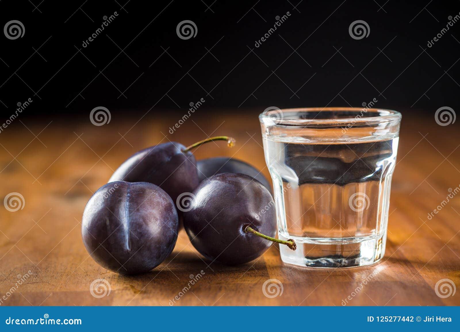 Plum brandy and plums. Slivovitz.