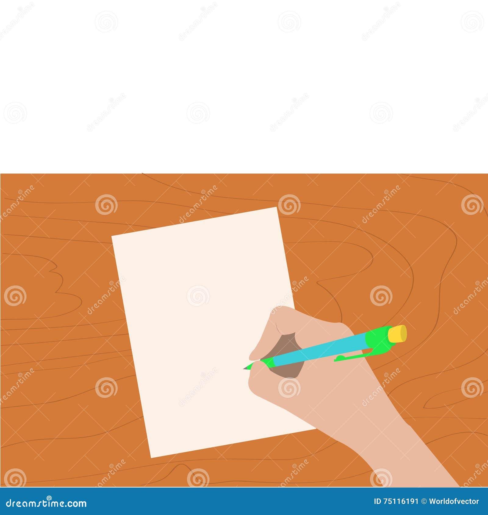 Pluma de dibujo de la escritura de la mano Mujer que sostiene el lápiz Hoja de papel Tabla de madera del escritorio