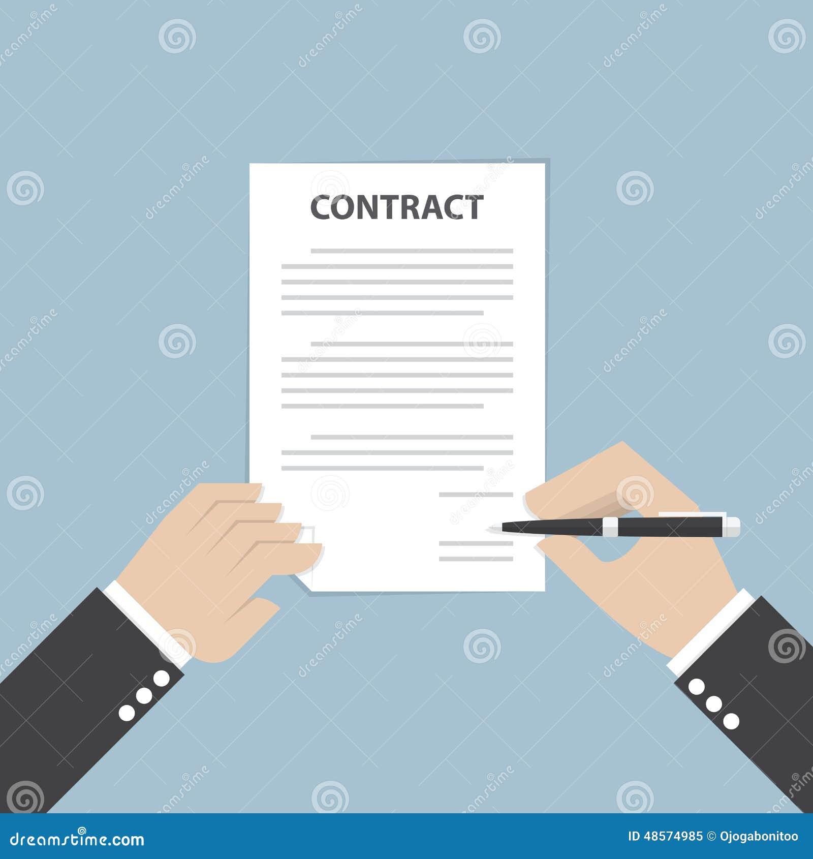 Pluma de tenencia de la mano del hombre de negocios y contrato de firma del negocio