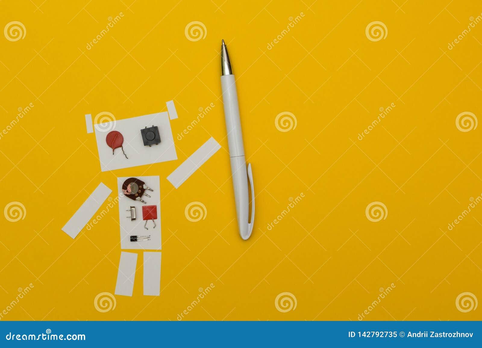 Pluma de tenencia del papel del robot, espacio para el texto
