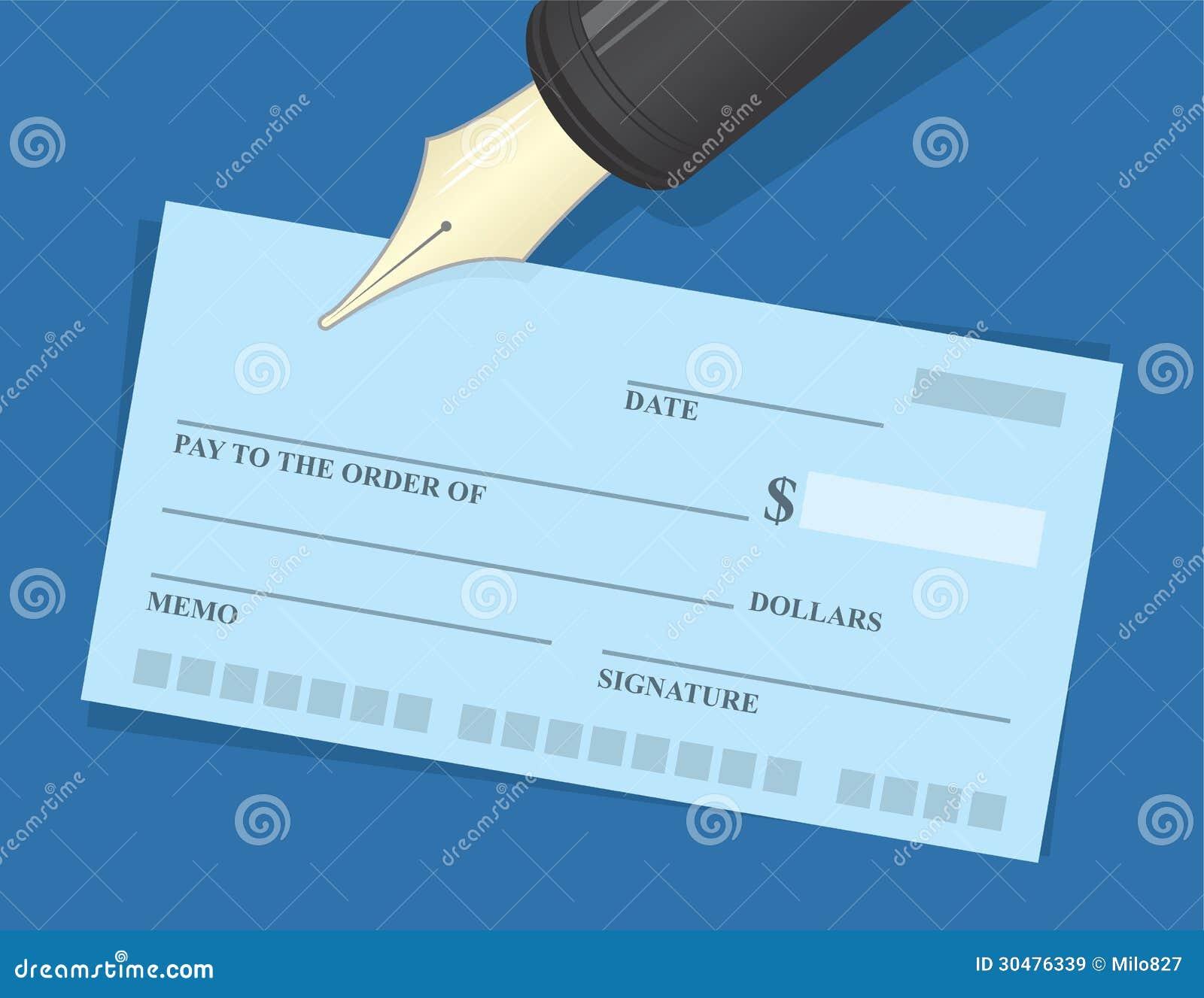 Pluma del talonario de cheques