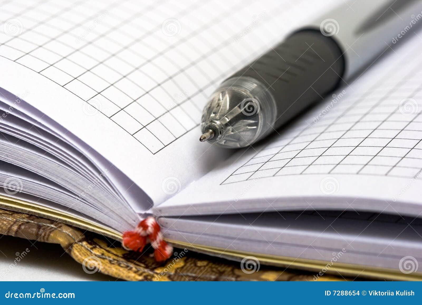 Pluma negra con el cuaderno