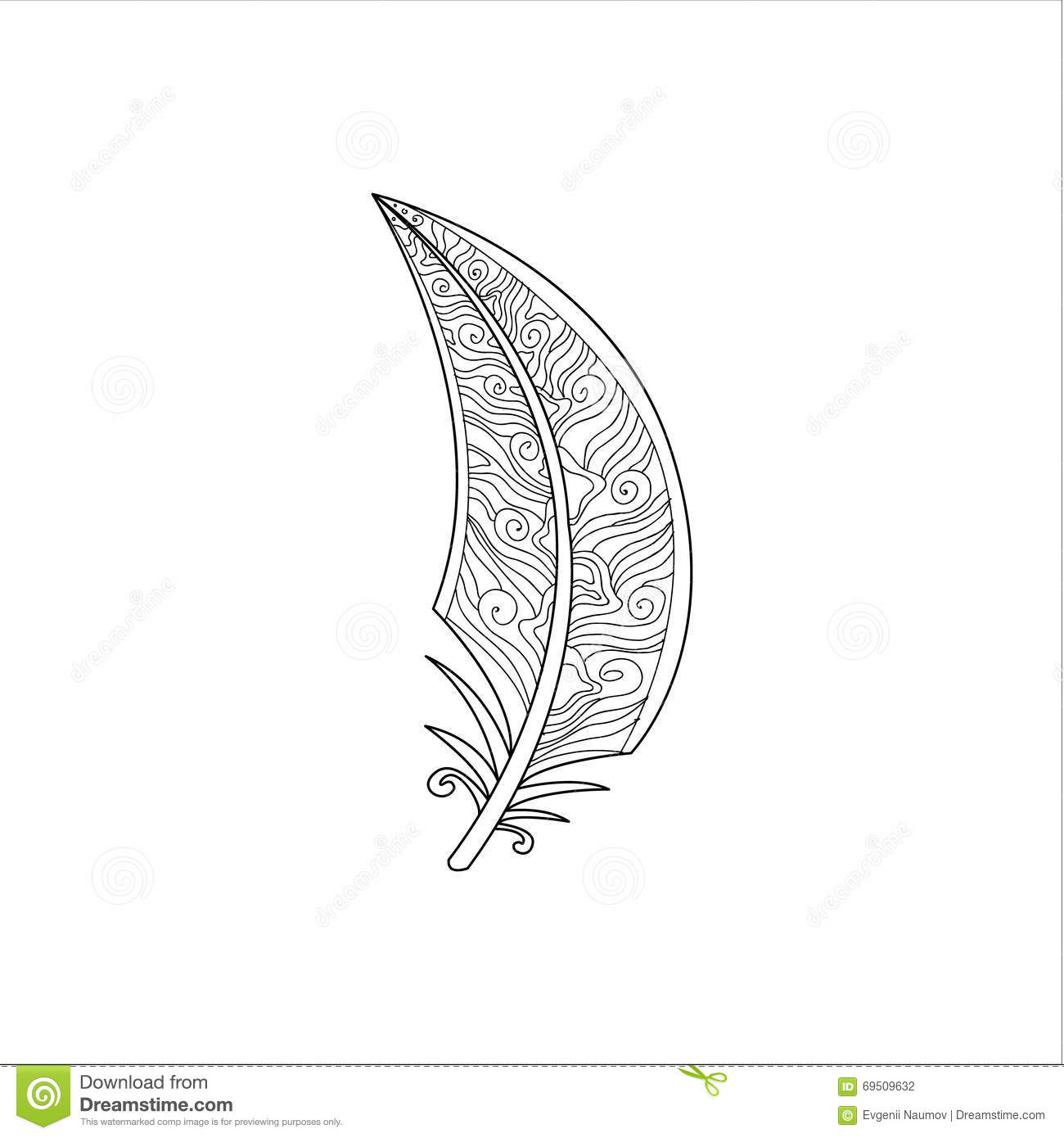 Pluma Vaned Zentangle Para Colorear Ilustración Del Vector