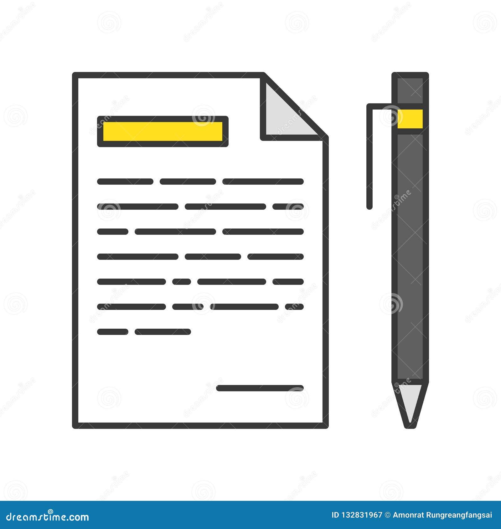 Pluma y papel con la lista, icono del mensaje, esquema editable del movimiento