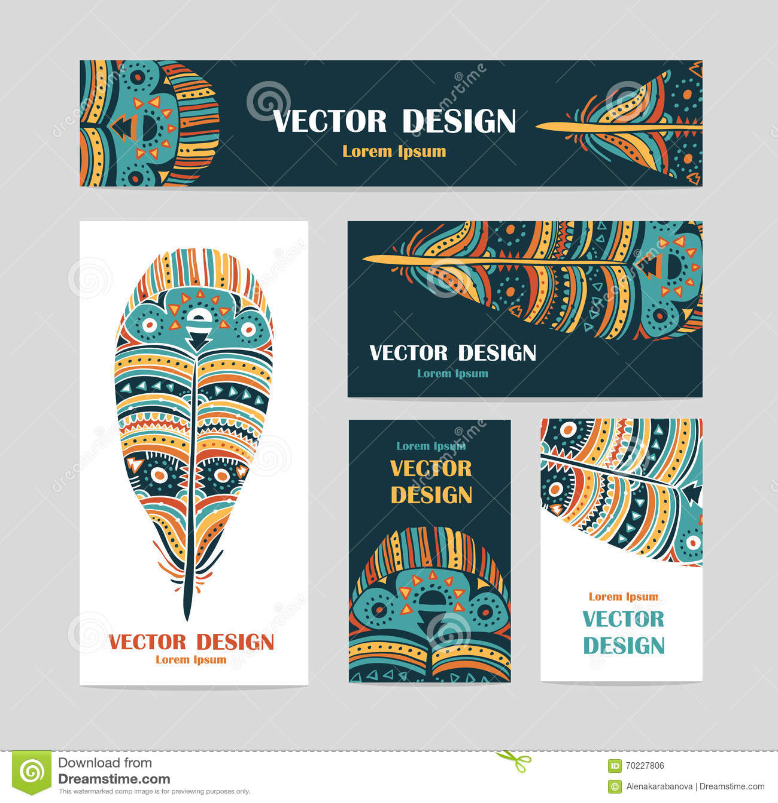 Plumas Aztecas Dibujadas Mano Del Estilo Invitación Del Diseño Y ...
