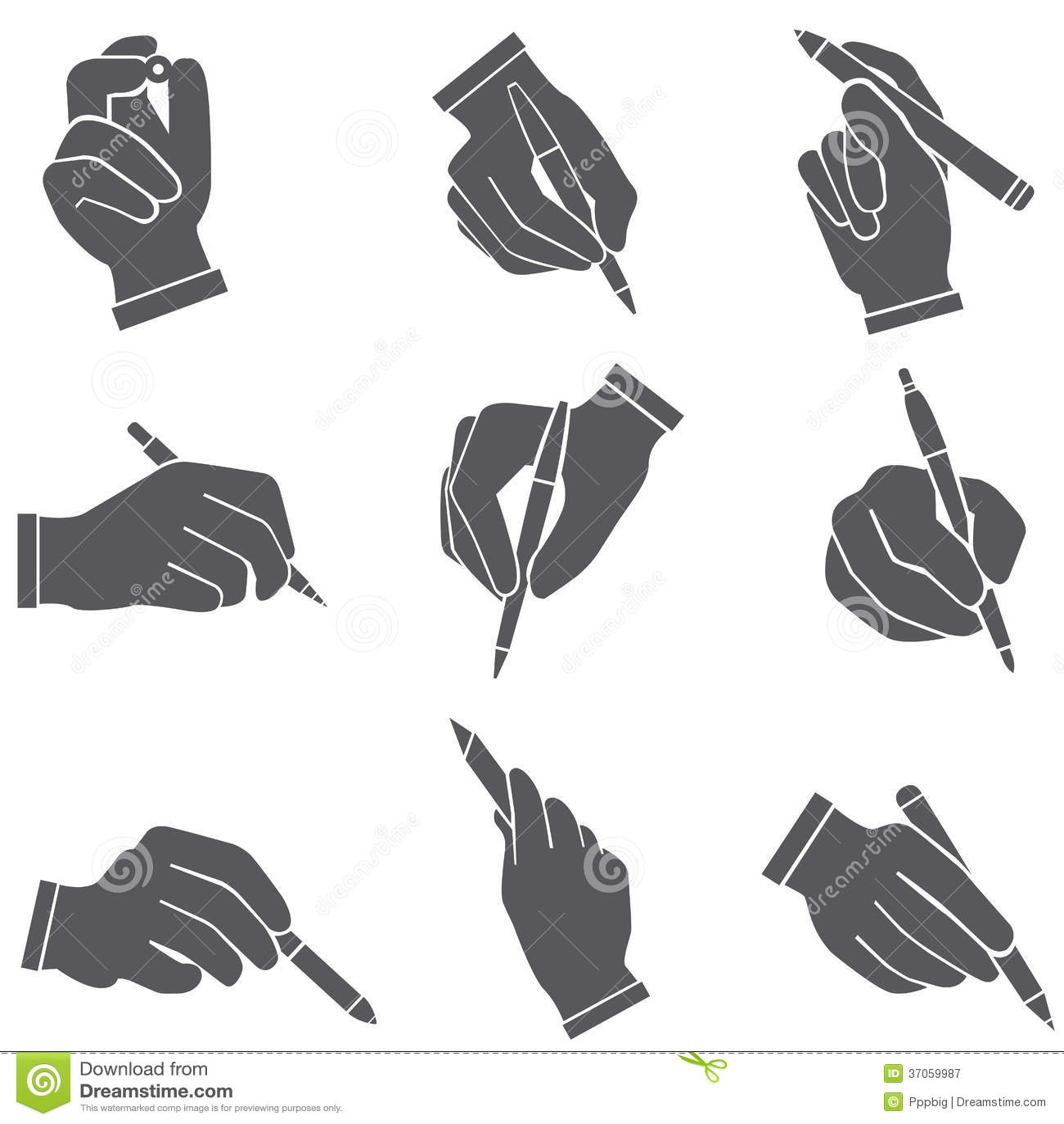 Plumas de tenencia de la mano, escritura