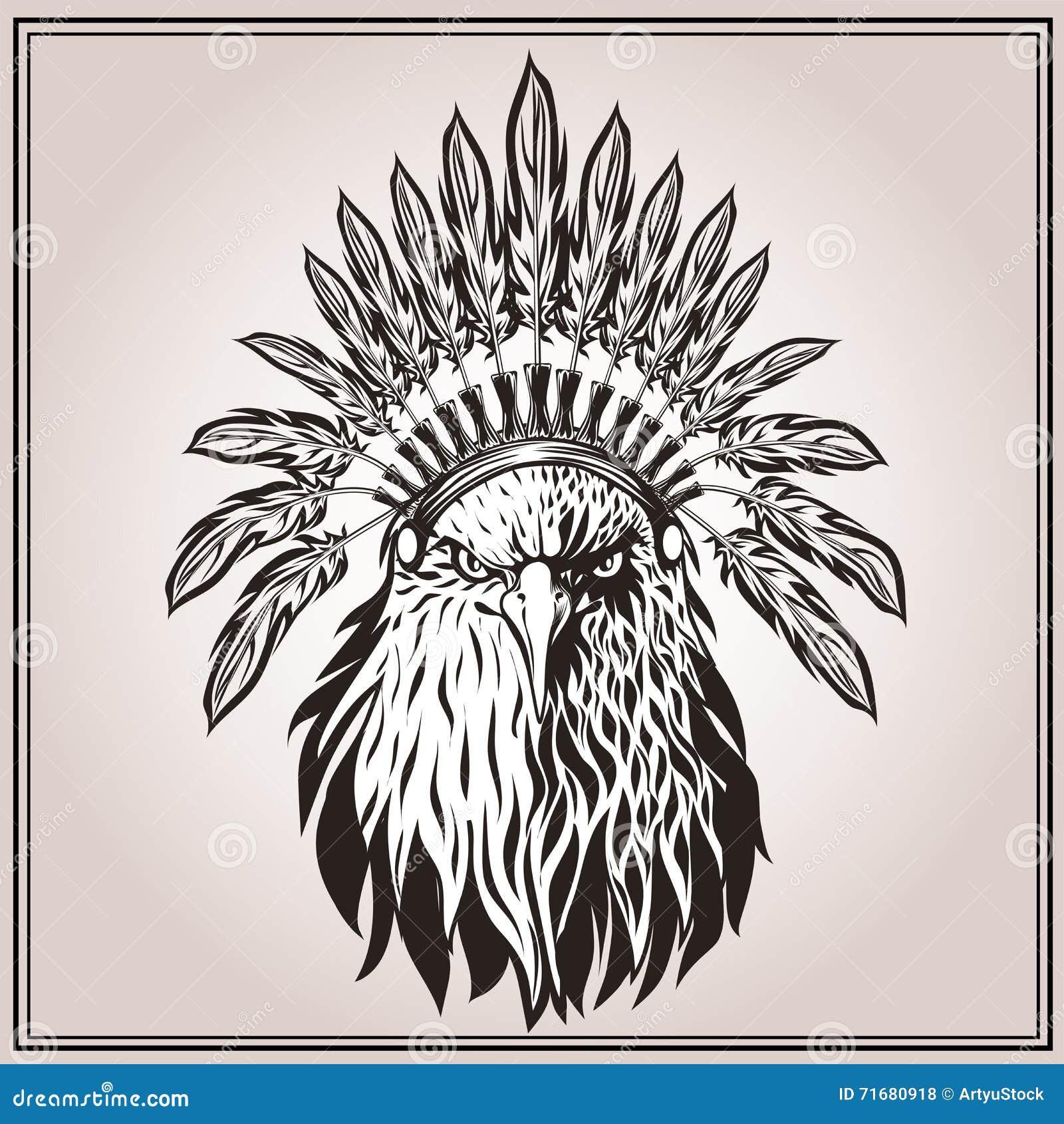 Plumas Indias étnicas Del Tocado De American Eagle Ilustración del ...