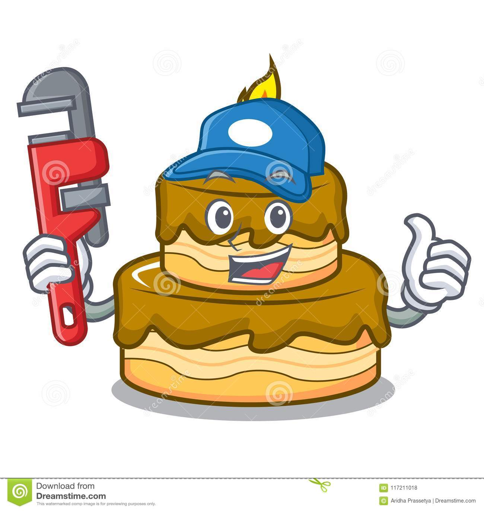 Groovy Plumber Birthday Cake Mascot Cartoon Stock Vector Illustration Funny Birthday Cards Online Amentibdeldamsfinfo