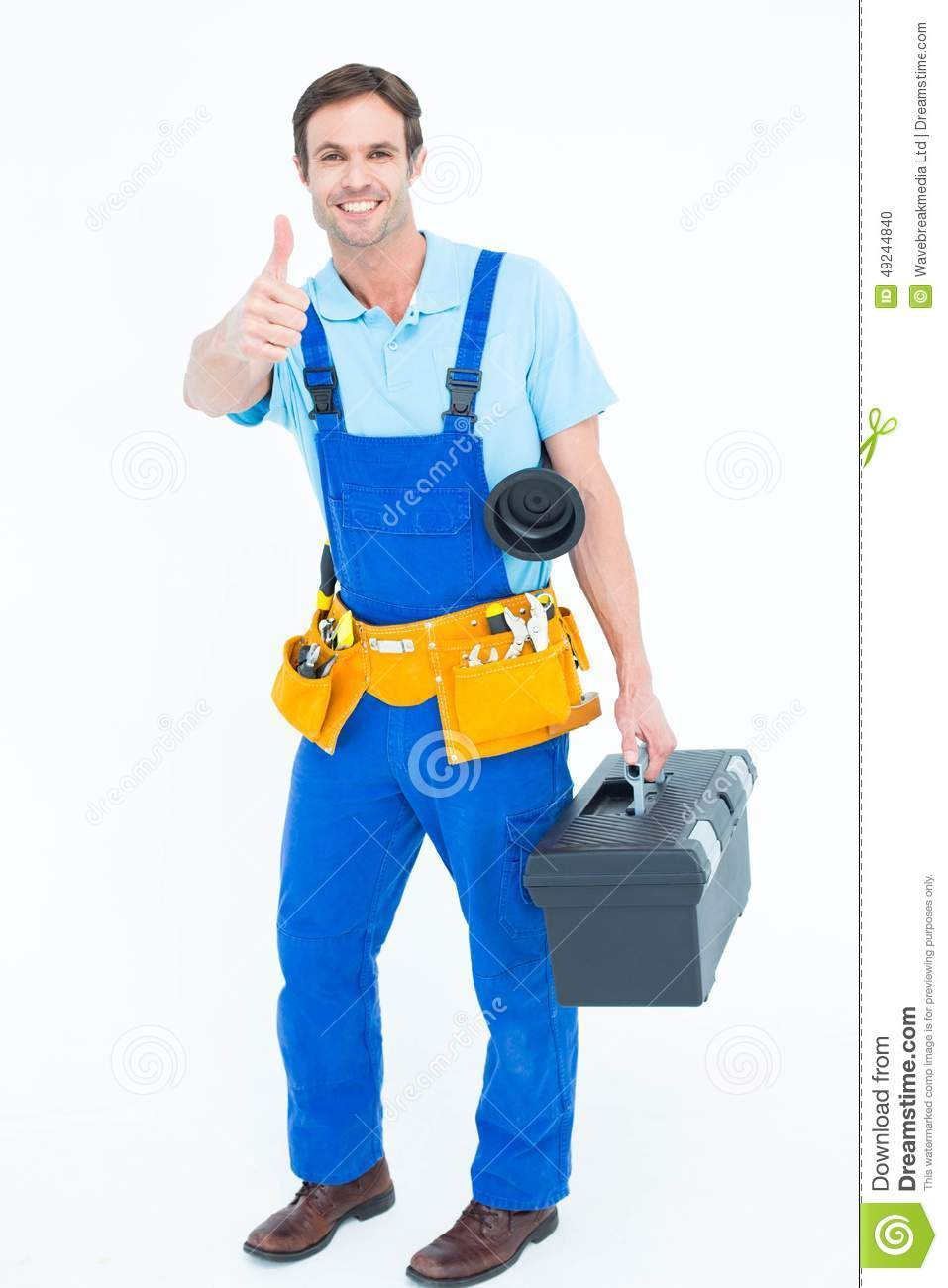 Plumber Carrying Tool Box While Gesturing Thumbs Up Stock ...