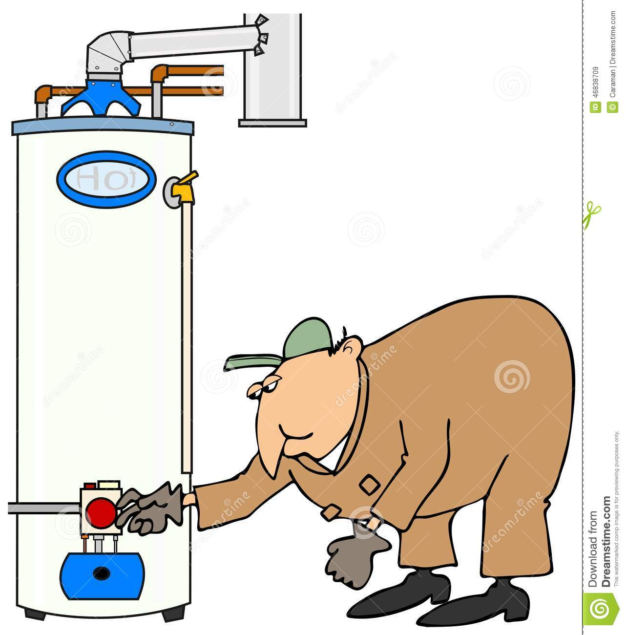 Plumber Checking A Gas Water Heater Stock Illustration How To Turn Up