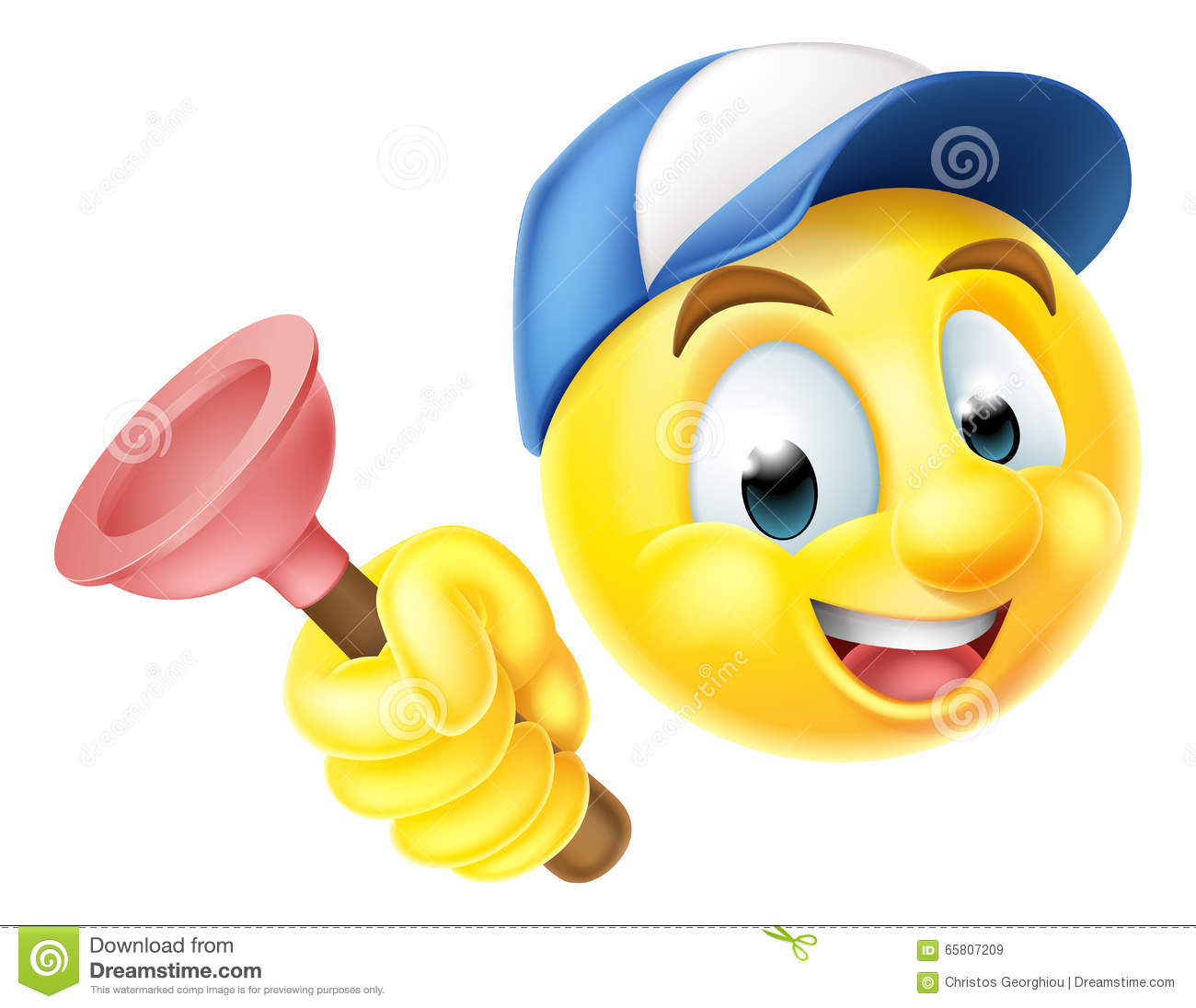 Plumber Emoji Emoticon With Plunger Stock Vector - Image ...