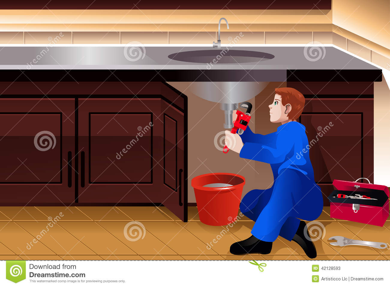 Plumber Fixing A Leaky Faucet Stock Vector - Illustration of ...
