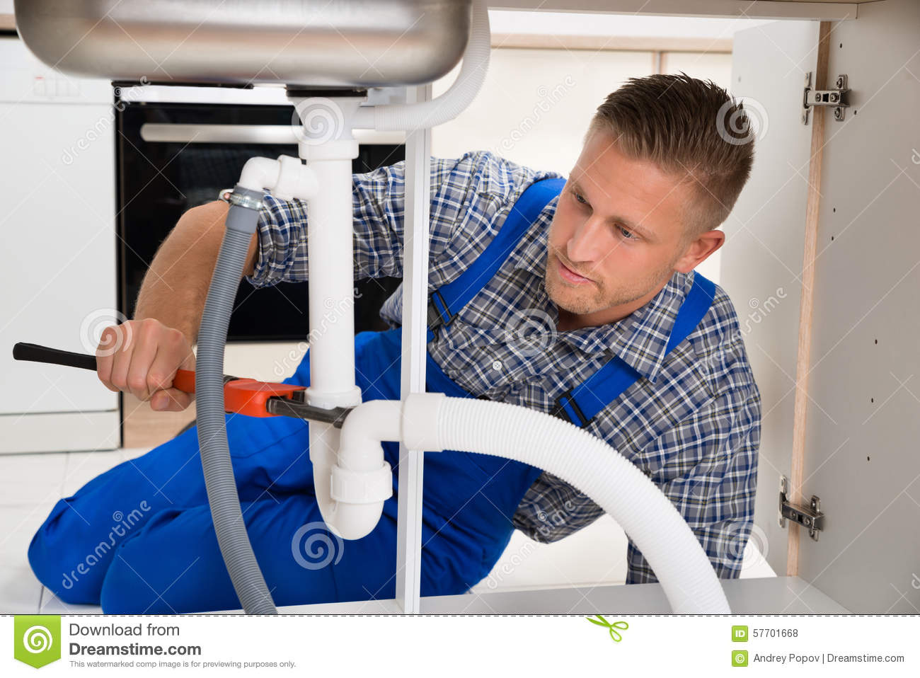 Plumber Fixing White Sink Pipe Stock Photo - Image of equipment ...