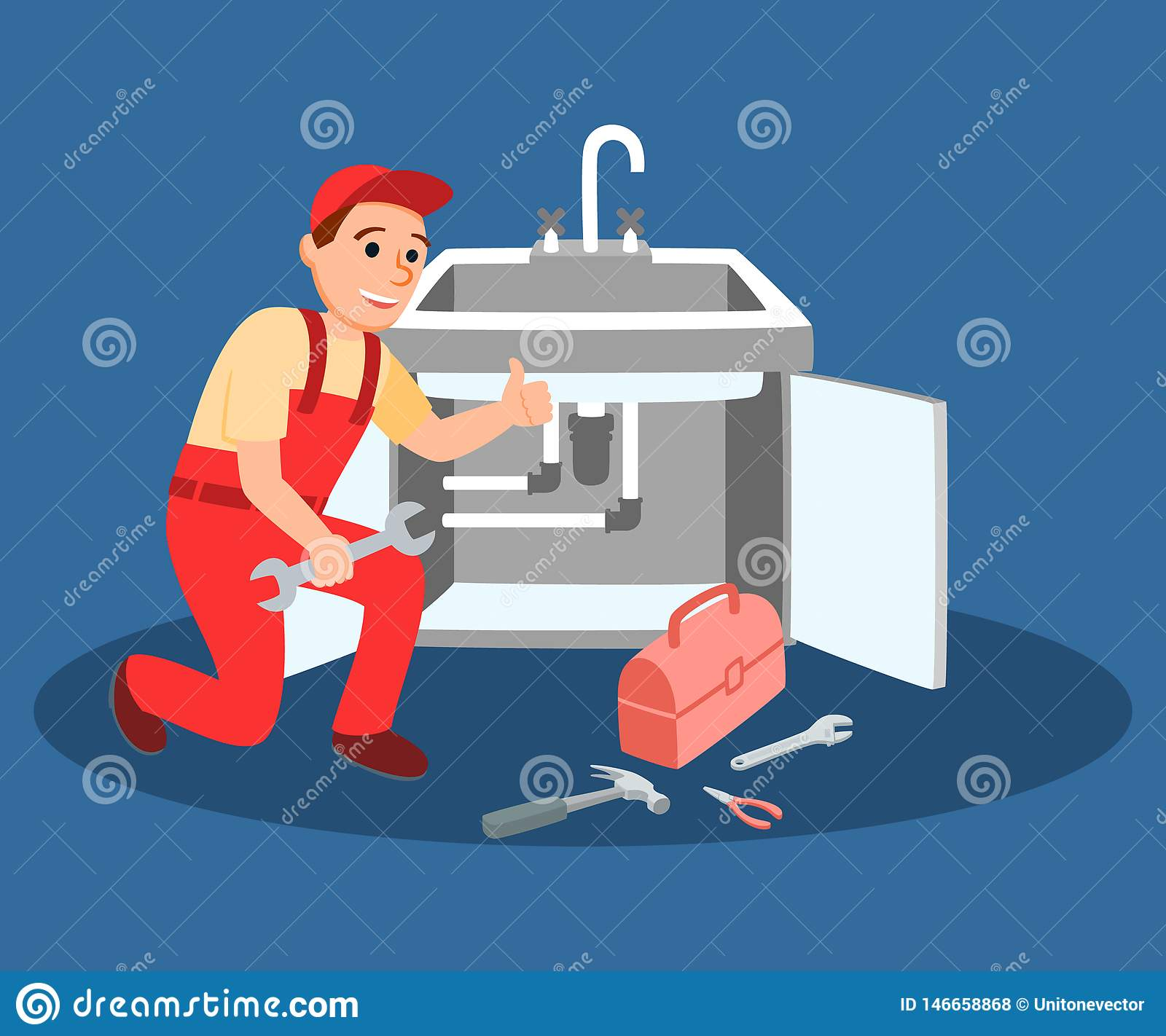 Plumber Master With Wrench Fixing Kitchen Faucet Stock Vector Illustration Of Emergency Plumber 146658868