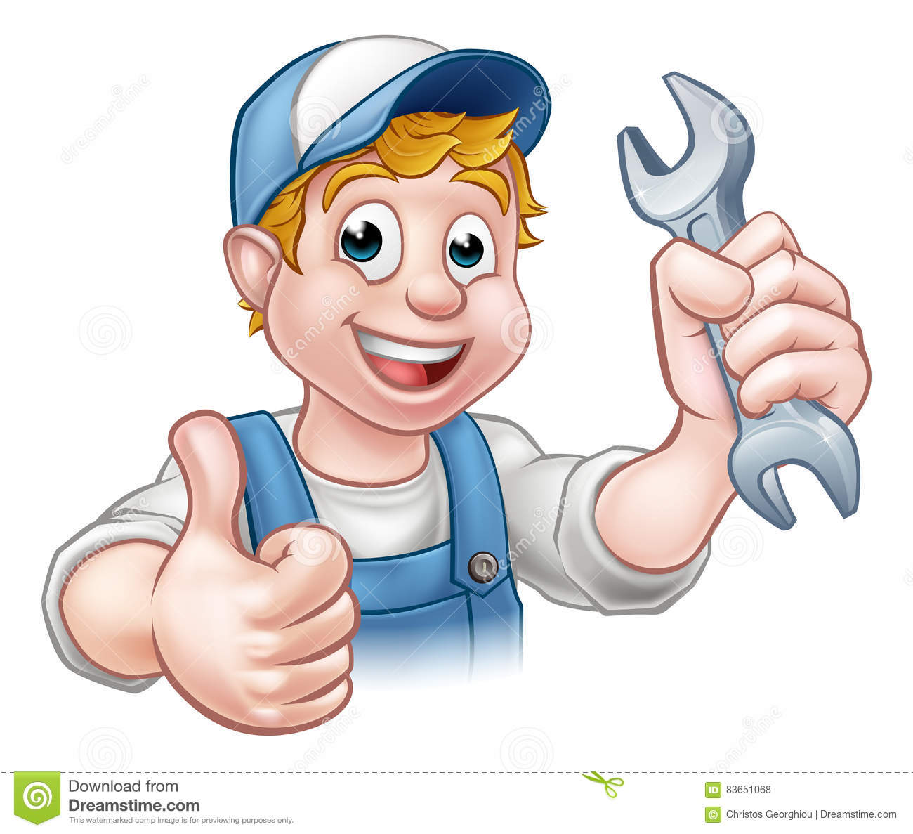 Mechanic Or Plumber With Spanner Vector Illustration ...