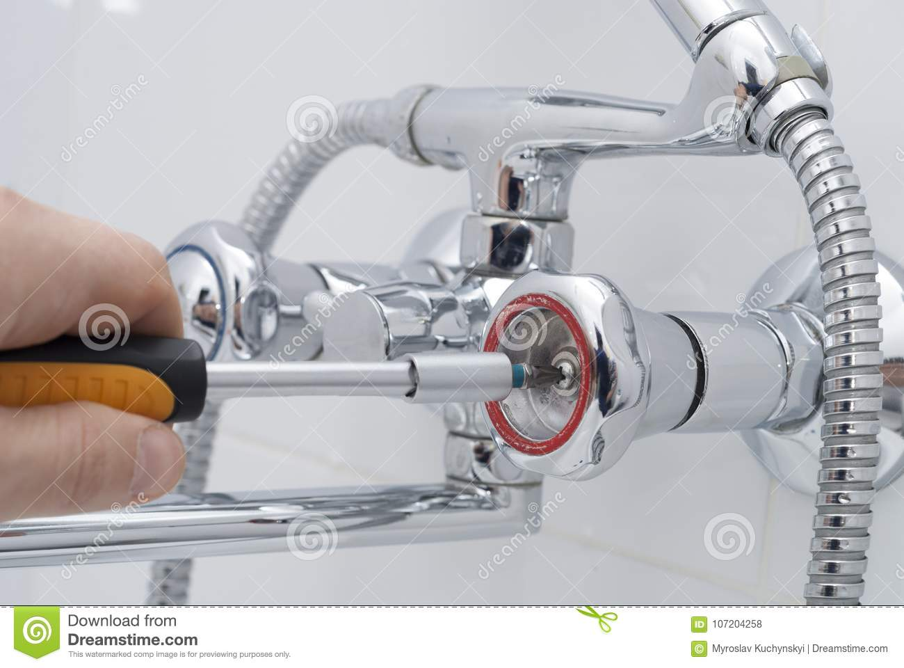 Repair of a water tap stock photo. Image of background - 107204258