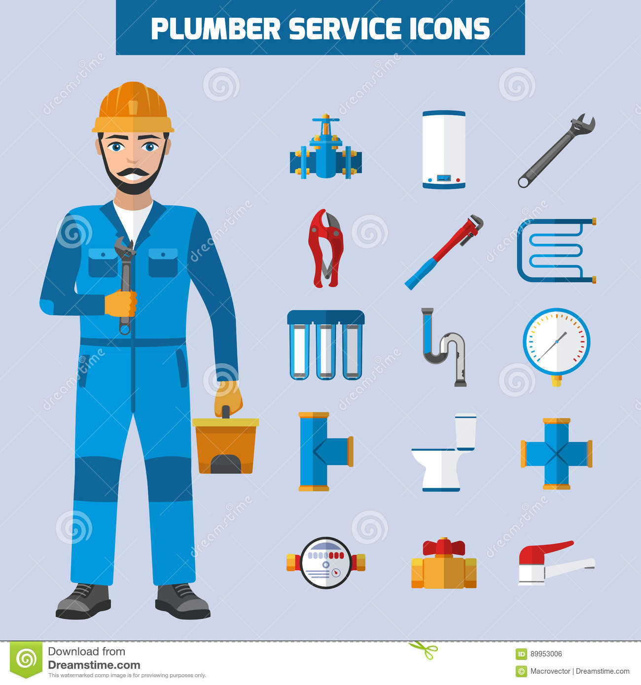 Plumber Service Icon Set Stock Vector Image 89953006