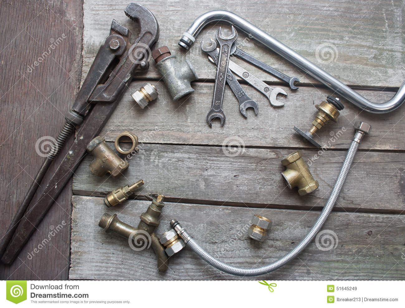 Plumber table stock photo 51301788 for What are old plumbing pipes made of