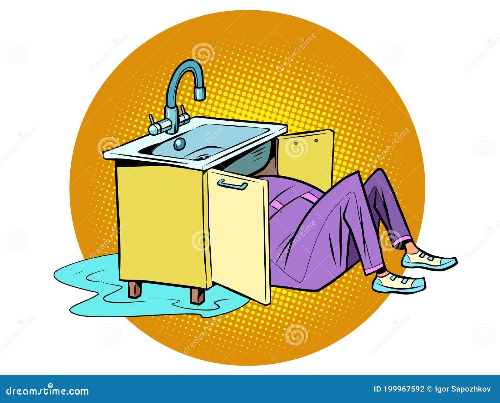 Plumber To Repair The Kitchen Sink Stock Vector Illustration Of Bathroom Contractor 199967592