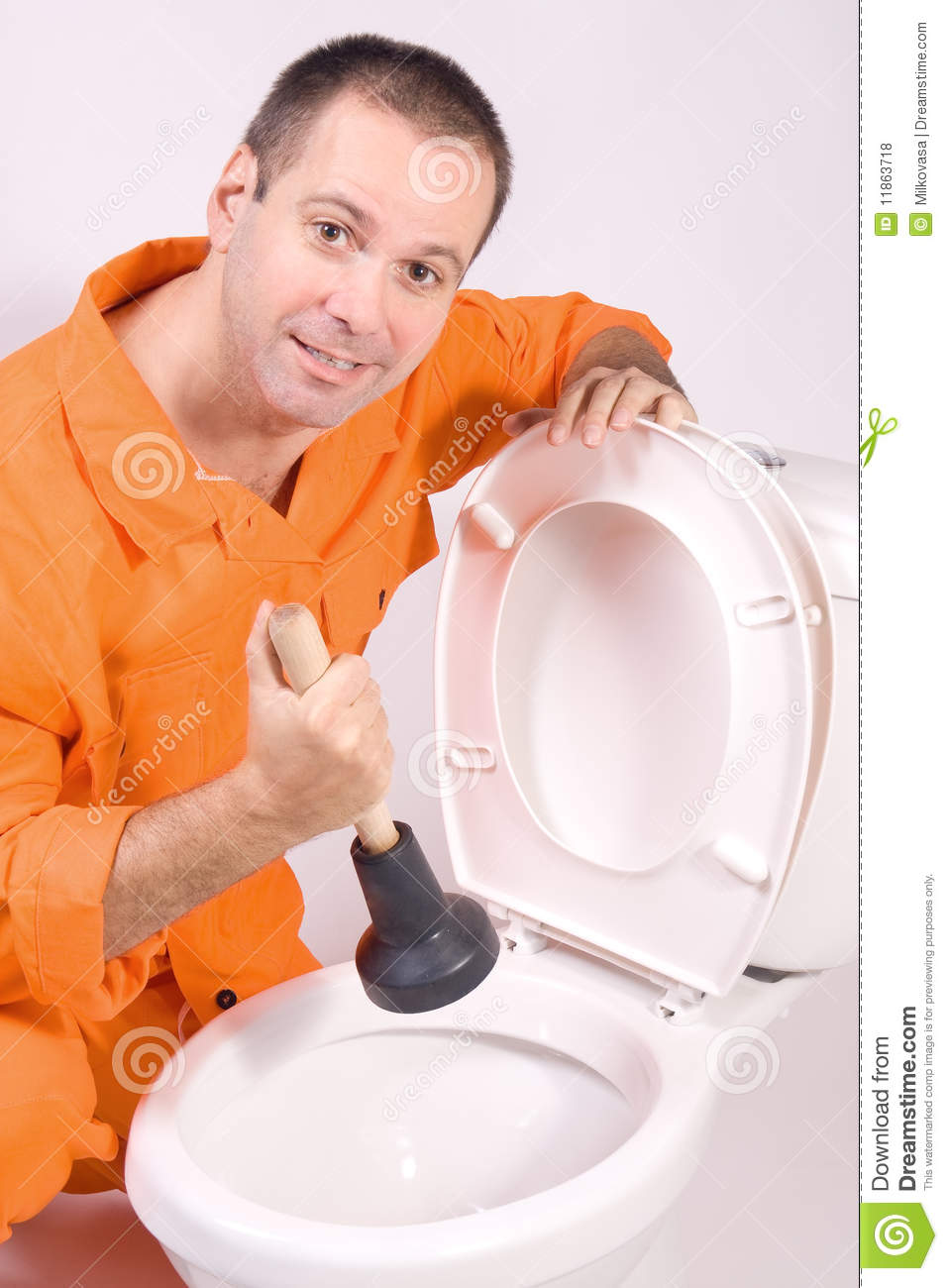 Plumber with toilet bowl stock photo. Image of ceramic - 11863718