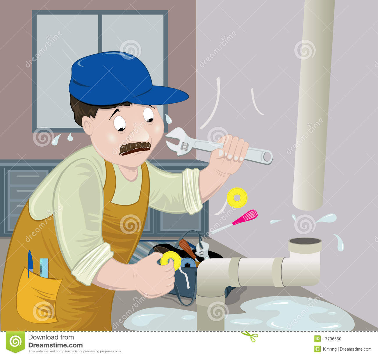 Plumber at work stock photo image 17706660 for How does plumbing work