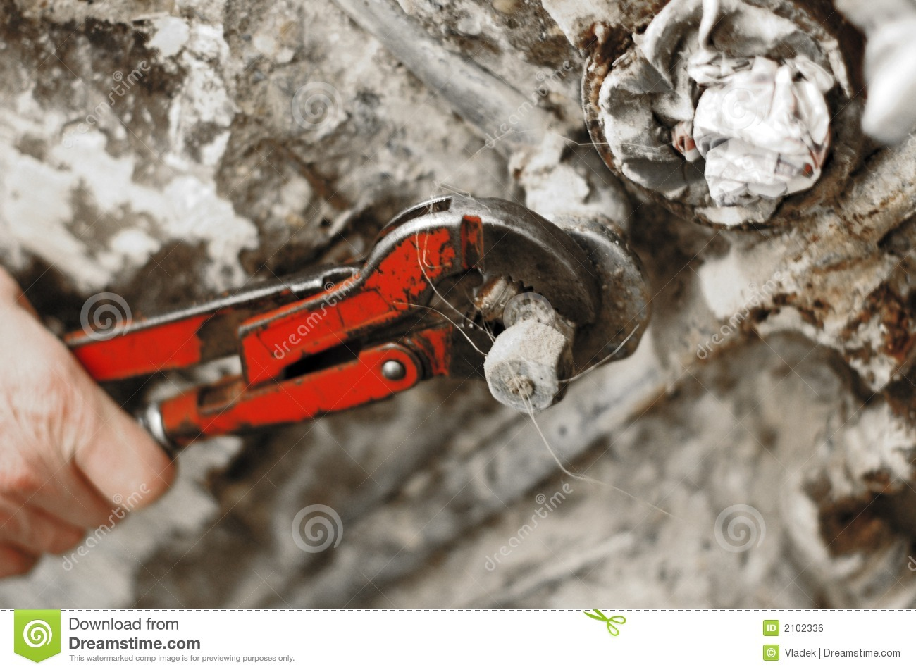 Plumber Wrench In Use Royalty Free Stock Image