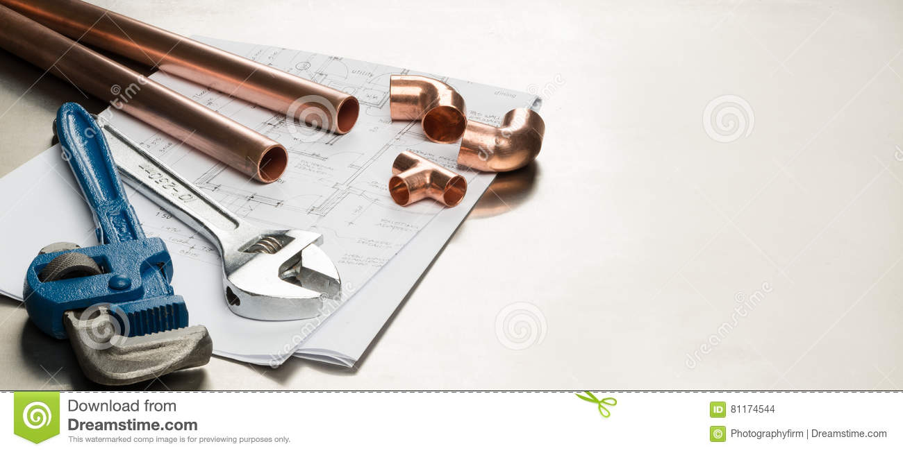 Plumbers tools and plumbing materials banner with copy