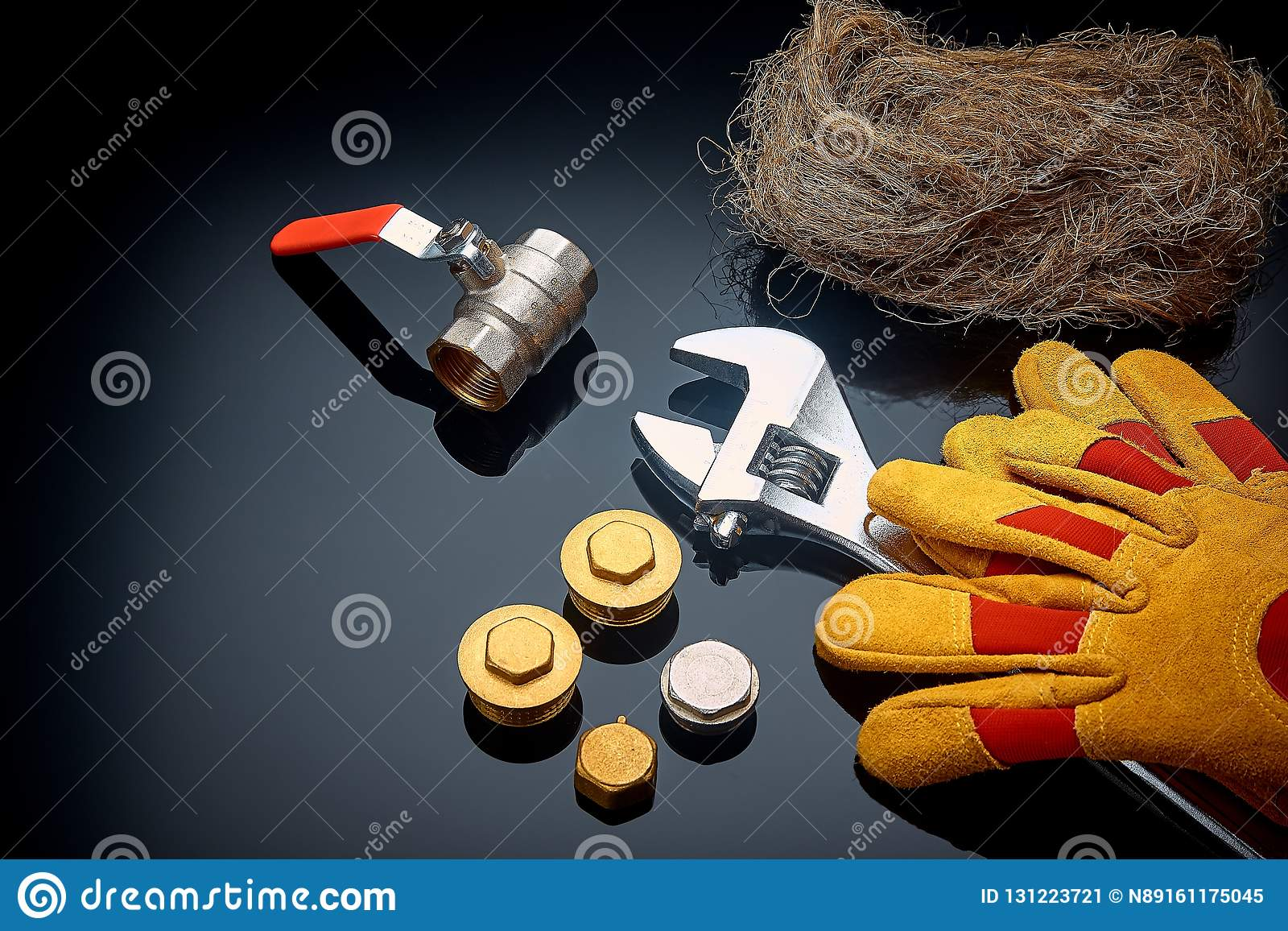 Set Plumbing And Tools On A Green Background. Stock Image ...