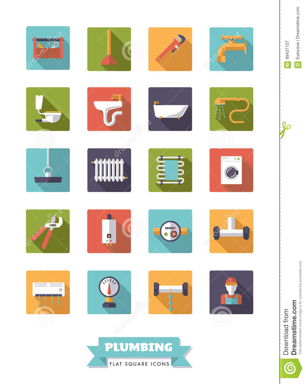 Plumbing And Bathroom Equipment Flat Design Icon Set Stock Vector