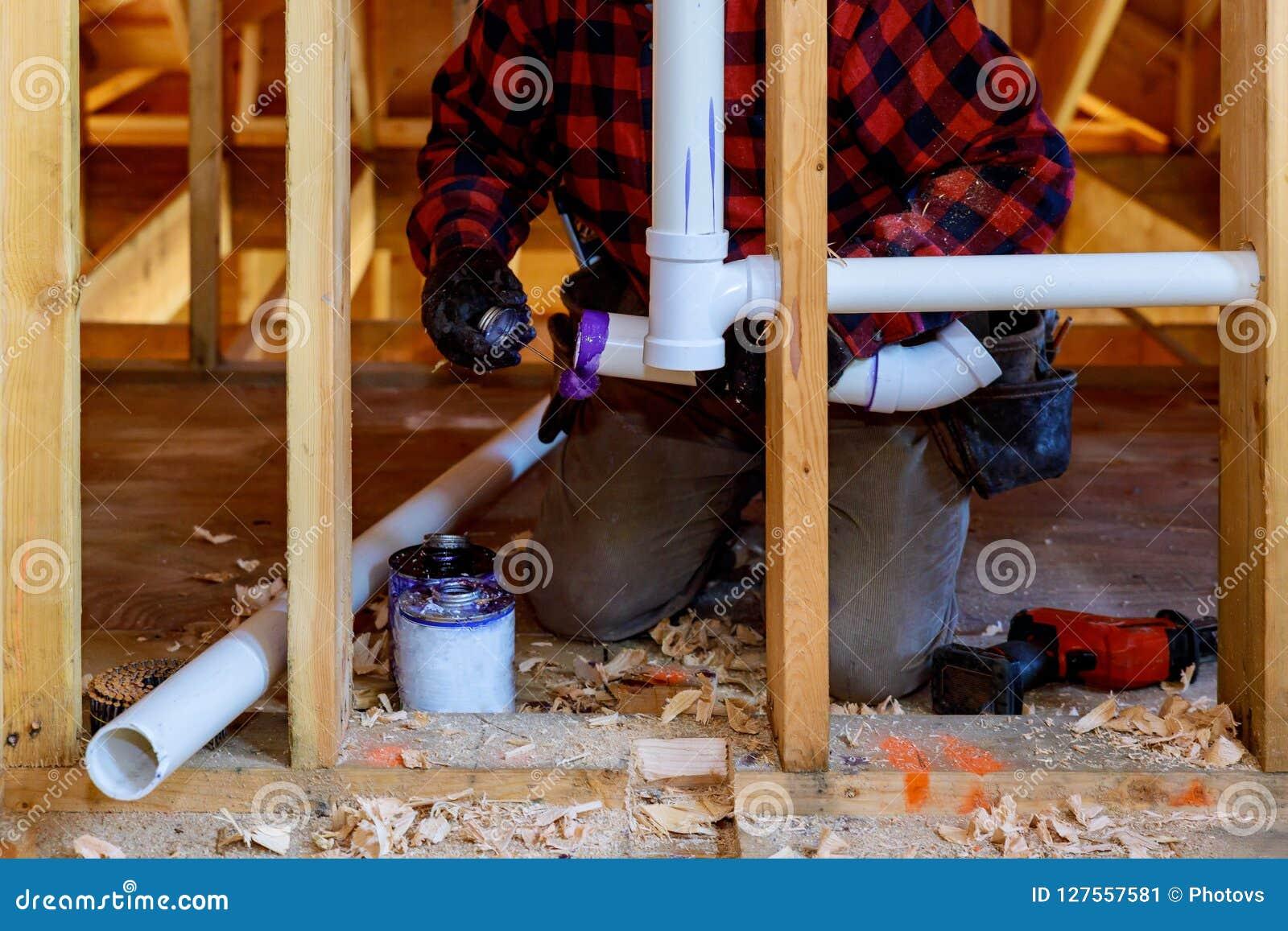 Plumbing Contractor Installing Plastic Pvc Pipe In Under The Bathroom Sink Stock Image Image Of Repair Pipeline 127557581