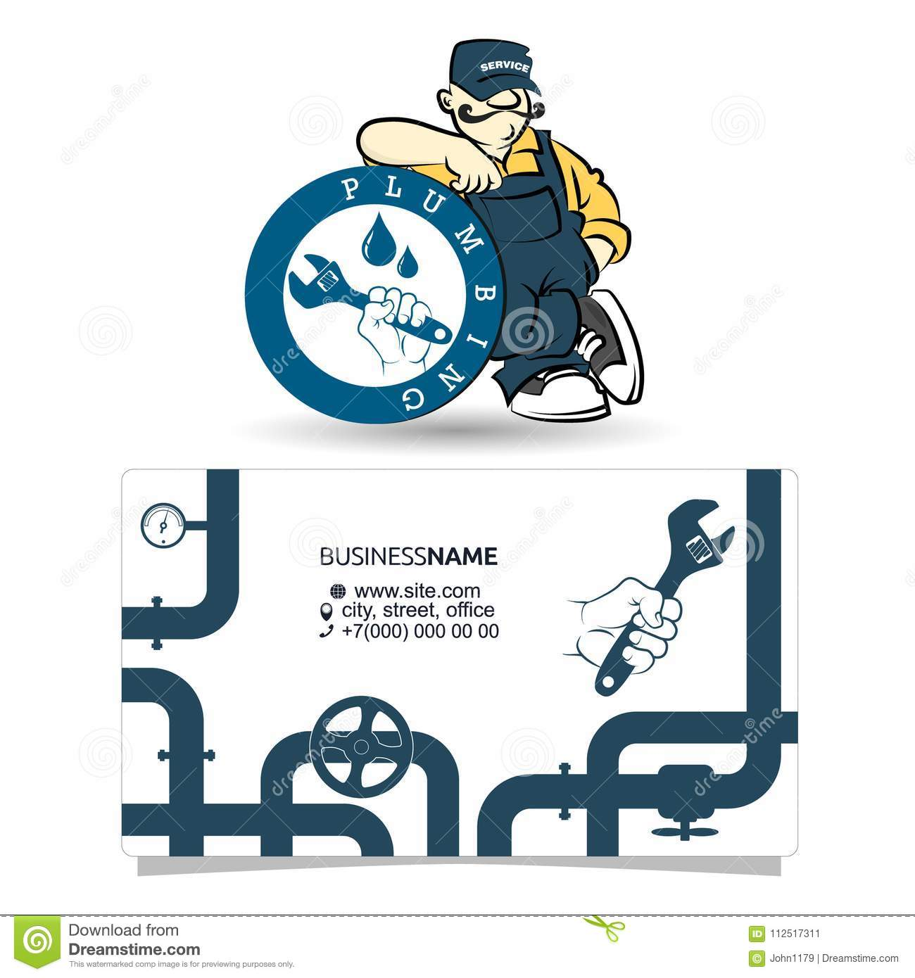 Plumbing Business Card Concept Stock Vector Illustration Of Master