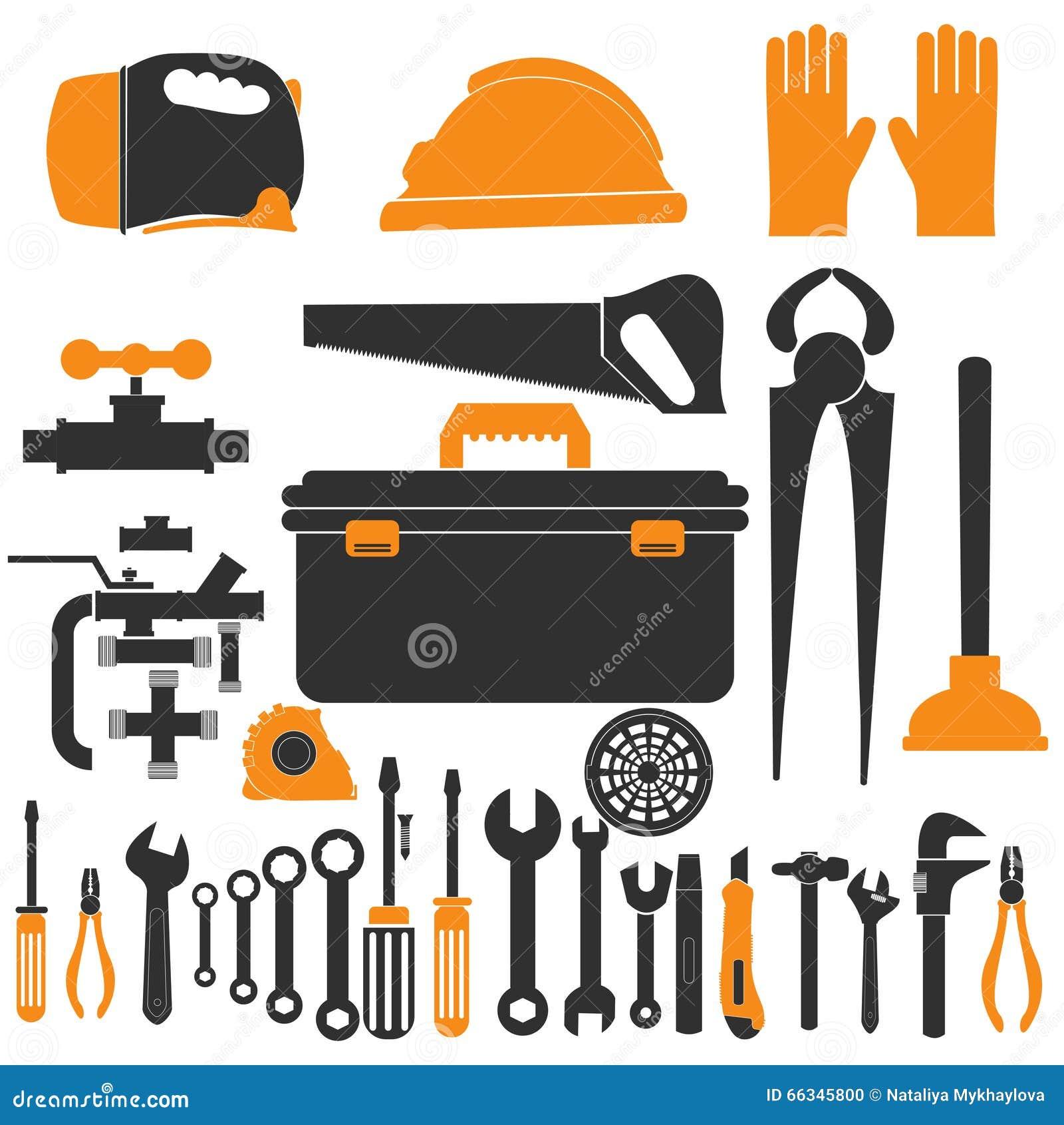 Plumbing Equipment Set Repair Tools Vector Illustration