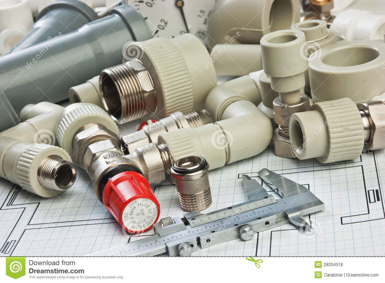Plumbing Fittings On The Drawing Royalty Free Stock Photos