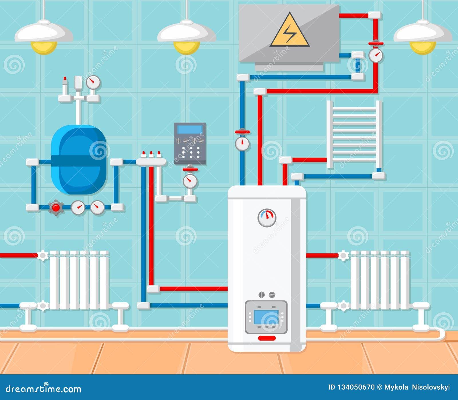 Plumbing In House Concept  Vector Illustration  Stock Vector