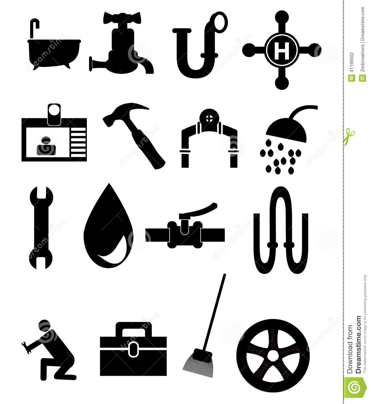 Plumbing Icon Set Stock Vector - Image: 41196602